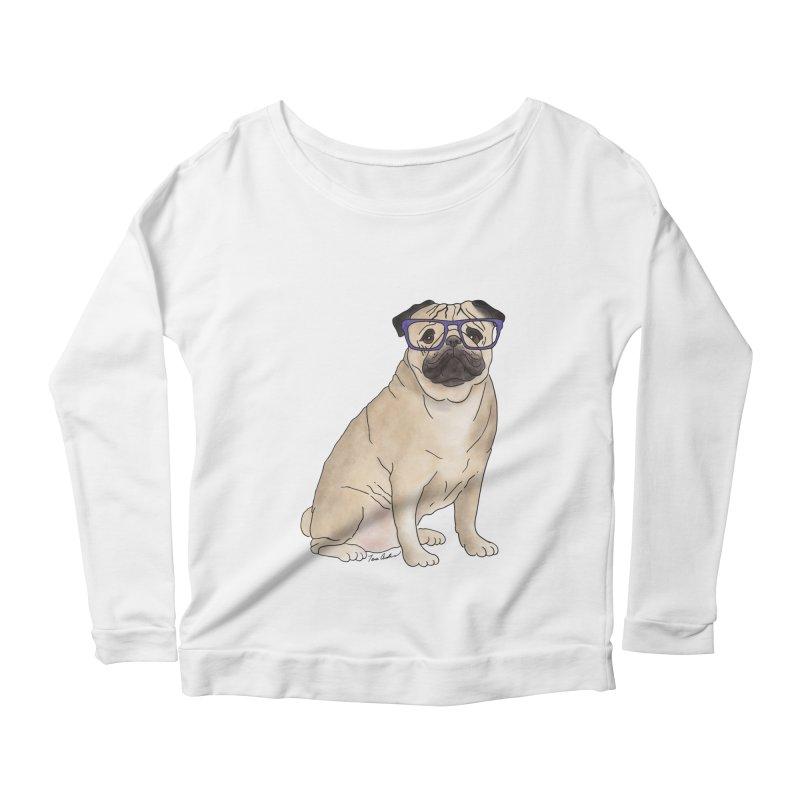 Milo the Pug Women's Scoop Neck Longsleeve T-Shirt by Tara Joy Andrews