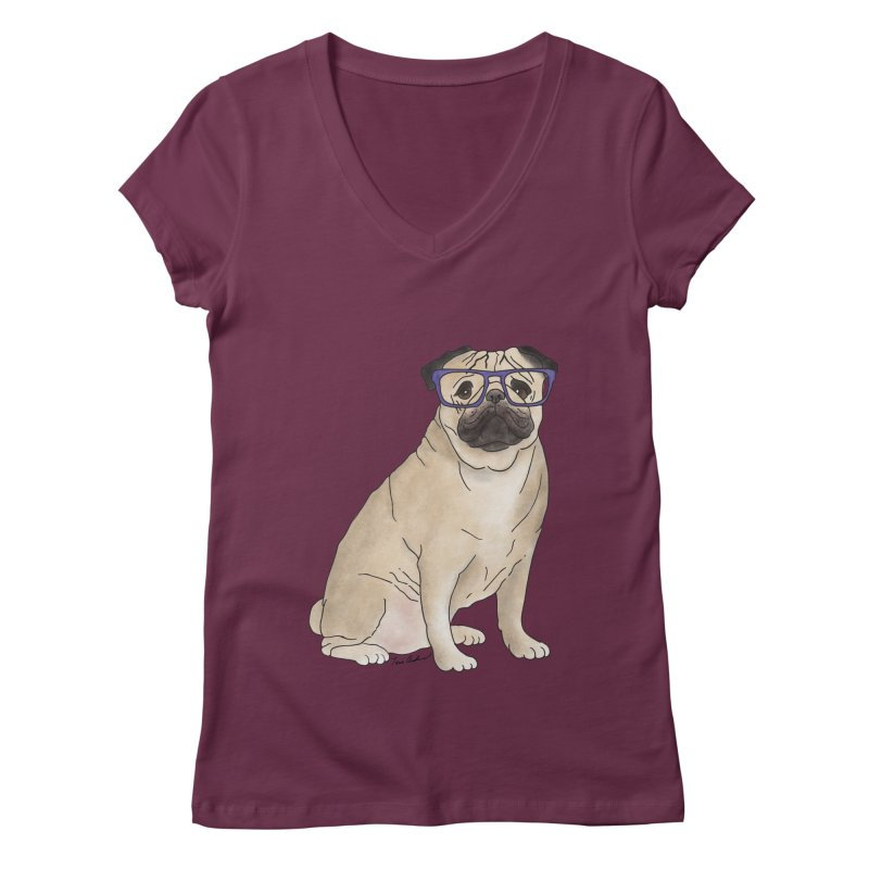 Milo the Pug Women's V-Neck by Tara Joy Andrews