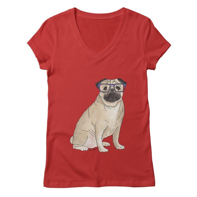 Milo the Pug Women's Regular V-Neck by Tara Joy Andrews