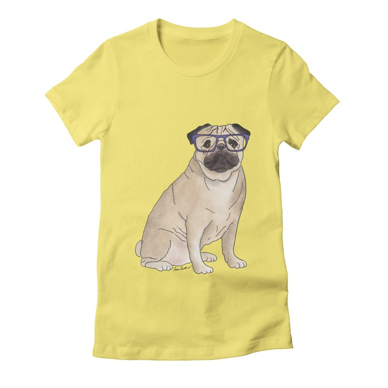 Milo the Pug Women's Fitted T-Shirt by Tara Joy Andrews