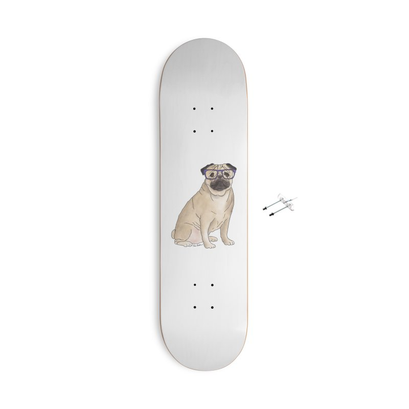 Milo the Pug Accessories With Hanging Hardware Skateboard by Tara Joy Andrews