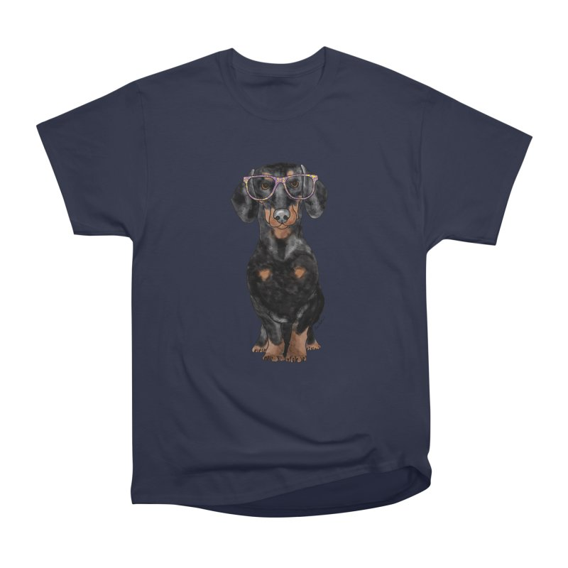 Dapper Dachshund Women's Heavyweight Unisex T-Shirt by Tara Joy Andrews