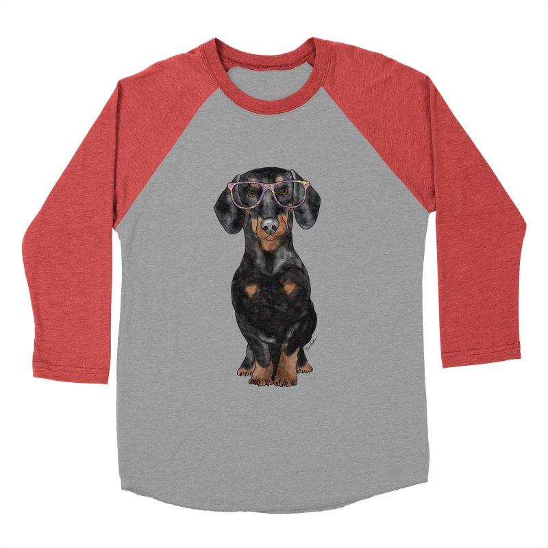 Dapper Dachshund Women's Baseball Triblend Longsleeve T-Shirt by Tara Joy Andrews