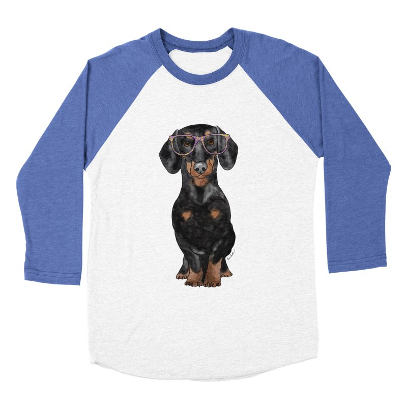 Dapper Dachshund Men's Baseball Triblend Longsleeve T-Shirt by Tara Joy Andrews