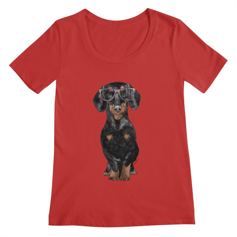 Dapper Dachshund Women's Regular Scoop Neck by Tara Joy Andrews