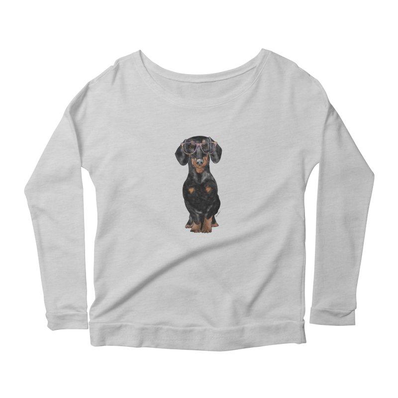 Dapper Dachshund Women's Scoop Neck Longsleeve T-Shirt by Tara Joy Andrews