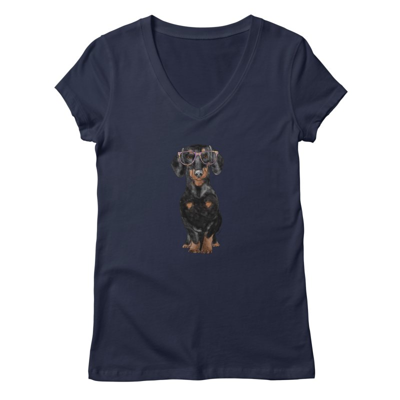 Dapper Dachshund Women's Regular V-Neck by Tara Joy Andrews