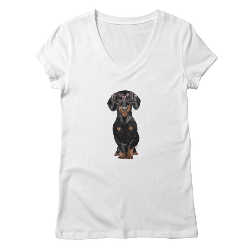 Dapper Dachshund in Women's Regular V-Neck White by Tara Joy Andrews