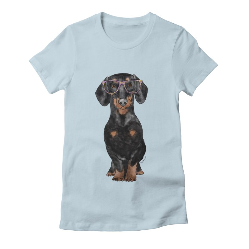 Dapper Dachshund Women's Fitted T-Shirt by Tara Joy Andrews