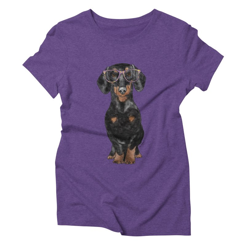 Dapper Dachshund Women's Triblend T-Shirt by Tara Joy Andrews