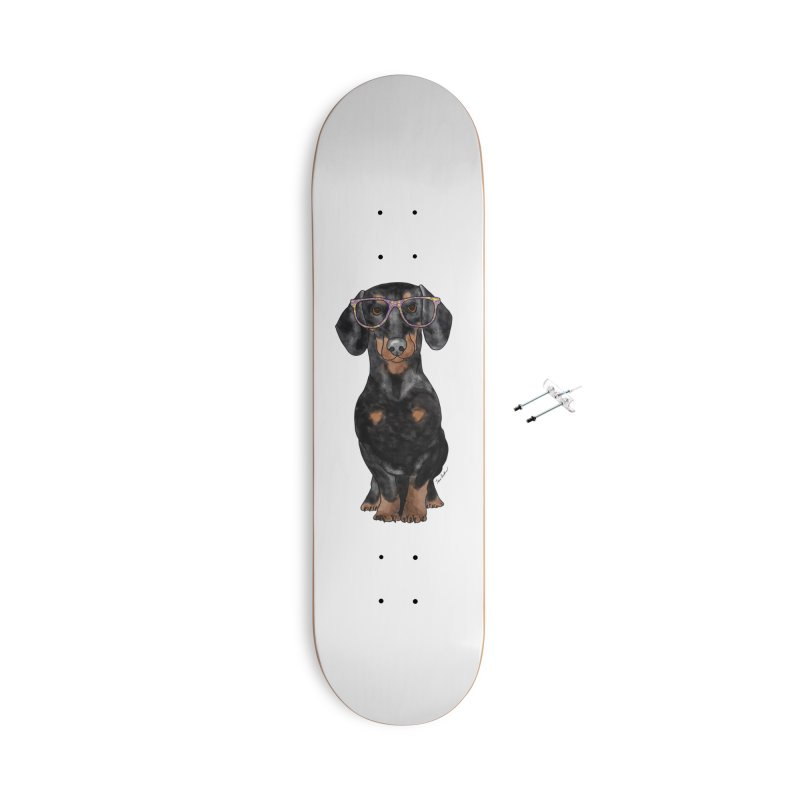 Dapper Dachshund Accessories With Hanging Hardware Skateboard by Tara Joy Andrews