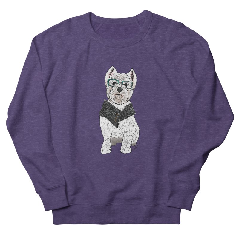 White West Highland Terrier in Women's French Terry Sweatshirt Heather Purple by Tara Joy Andrews
