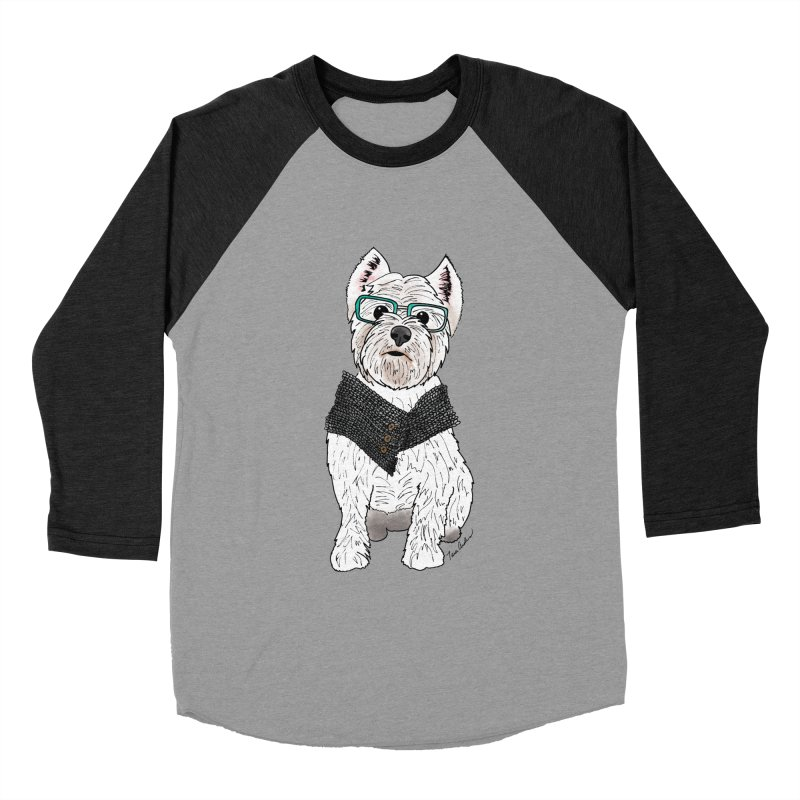 White West Highland Terrier Women's Baseball Triblend Longsleeve T-Shirt by Tara Joy Andrews