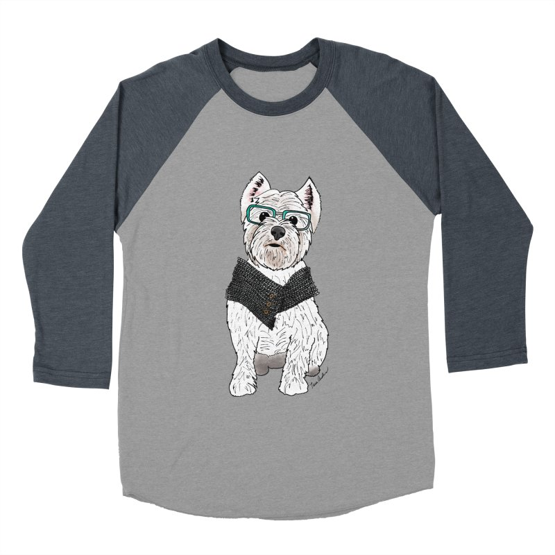White West Highland Terrier Men's Baseball Triblend Longsleeve T-Shirt by Tara Joy Andrews