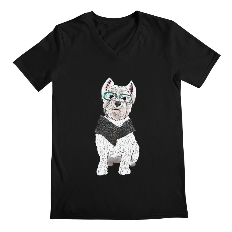 White West Highland Terrier Men's Regular V-Neck by Tara Joy Andrews