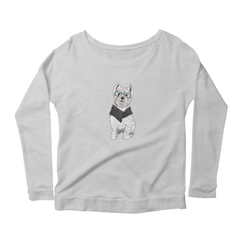 White West Highland Terrier Women's Scoop Neck Longsleeve T-Shirt by Tara Joy Andrews