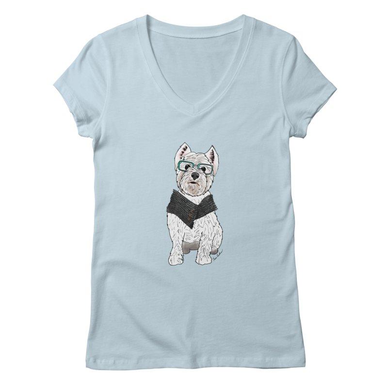White West Highland Terrier Women's Regular V-Neck by Tara Joy Andrews