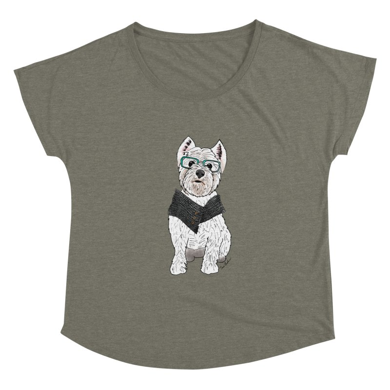 White West Highland Terrier Women's Scoop Neck by Tara Joy Andrews