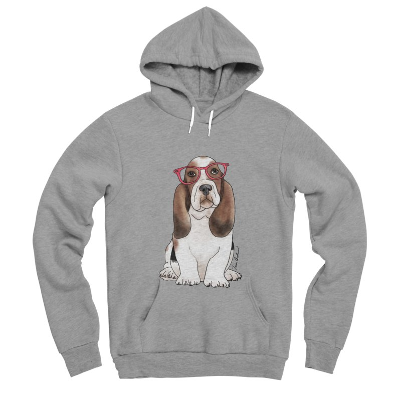 Bashful Basset Hound Men's Sponge Fleece Pullover Hoody by Tara Joy Andrews