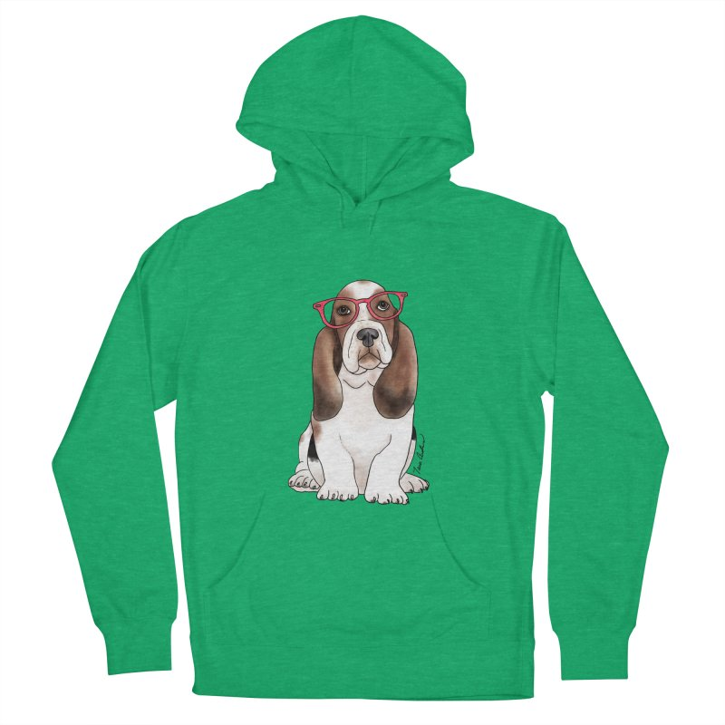 Bashful Basset Hound Women's French Terry Pullover Hoody by Tara Joy Andrews