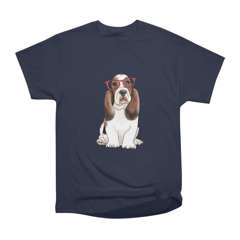 Bashful Basset Hound Men's Heavyweight T-Shirt by Tara Joy Andrews