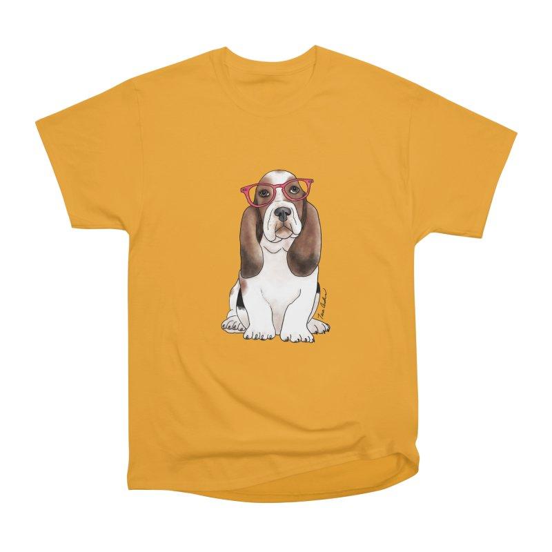 Bashful Basset Hound Men's Heavyweight T-Shirt by Tara Joy Andrews