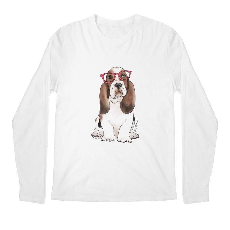 Bashful Basset Hound Men's Regular Longsleeve T-Shirt by Tara Joy Andrews
