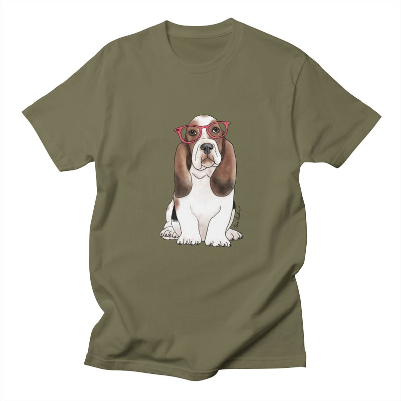 Bashful Basset Hound Women's Regular Unisex T-Shirt by Tara Joy Andrews