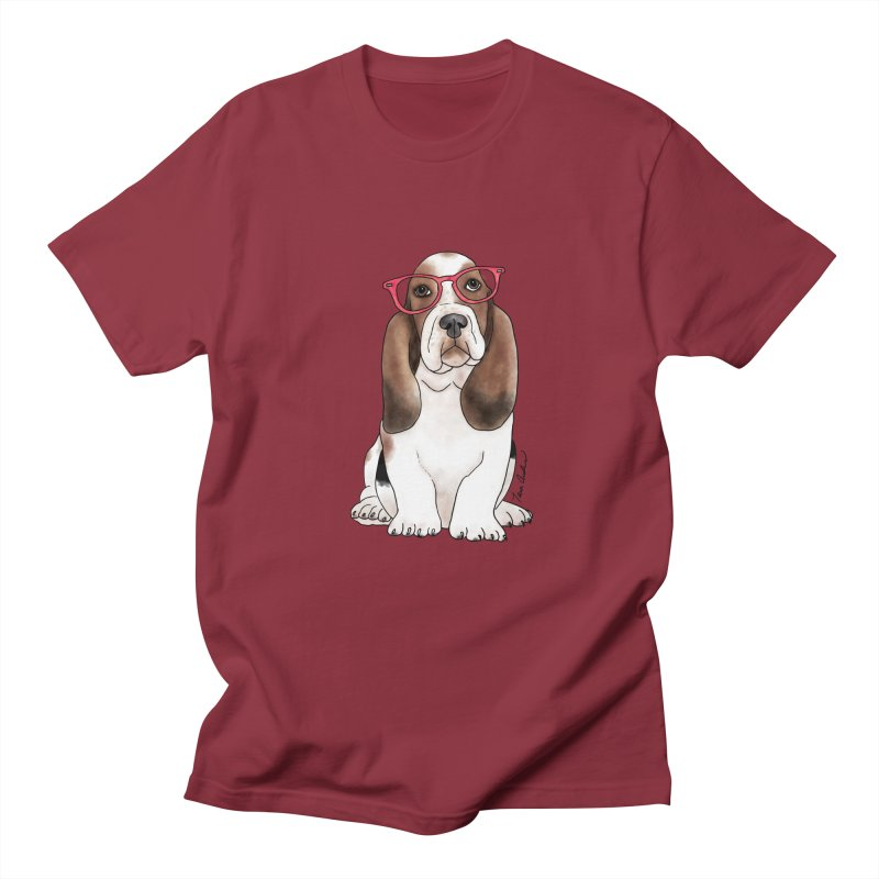 Bashful Basset Hound Women's Regular Unisex T-Shirt by Tara Joy Andrews