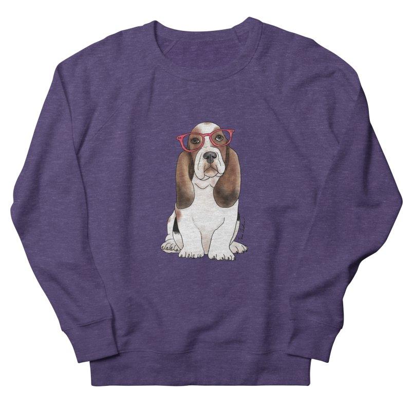 Bashful Basset Hound Men's French Terry Sweatshirt by Tara Joy Andrews