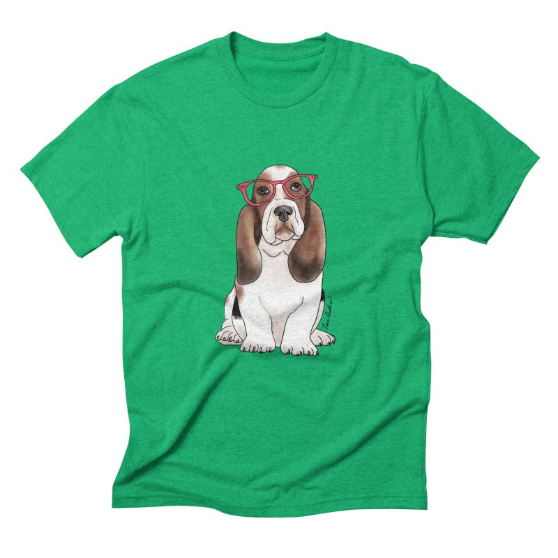 Bashful Basset Hound Men's Triblend T-Shirt by Tara Joy Andrews