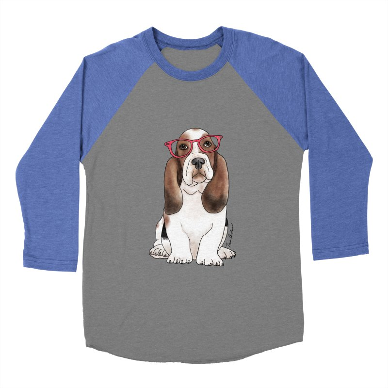 Bashful Basset Hound Women's Baseball Triblend Longsleeve T-Shirt by Tara Joy Andrews