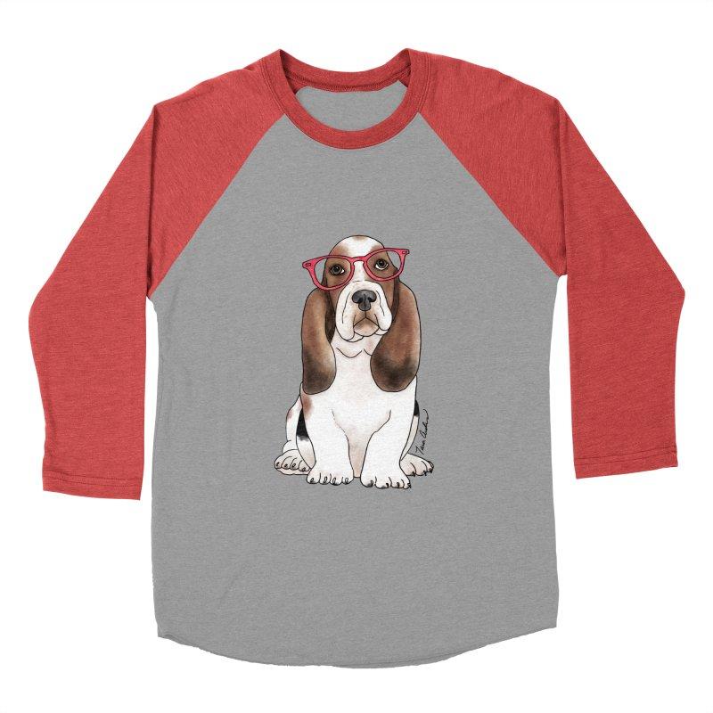 Bashful Basset Hound Men's Baseball Triblend Longsleeve T-Shirt by Tara Joy Andrews