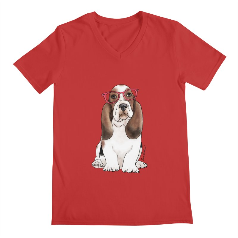 Bashful Basset Hound Men's Regular V-Neck by Tara Joy Andrews