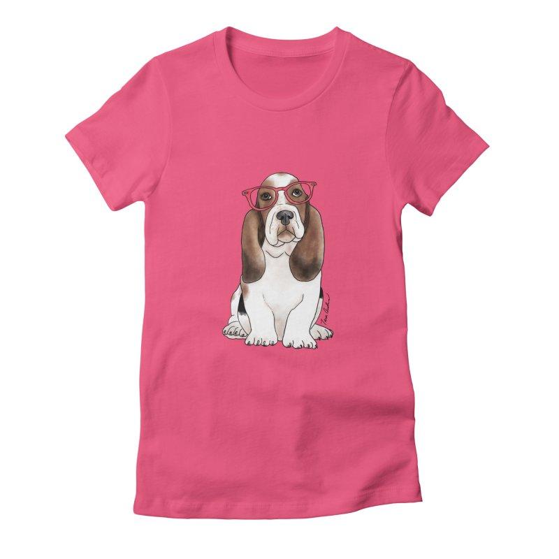 Bashful Basset Hound Women's T-Shirt by Tara Joy Andrews