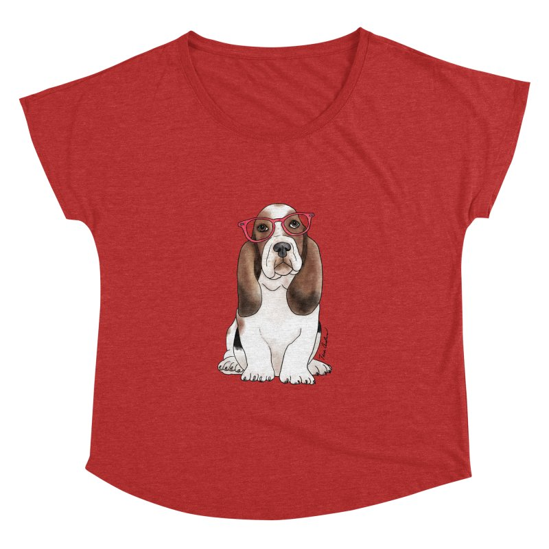 Bashful Basset Hound Women's Dolman Scoop Neck by Tara Joy Andrews