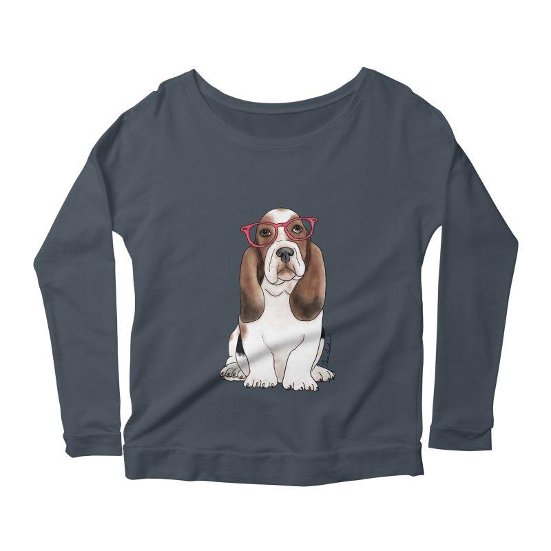 Bashful Basset Hound Women's Scoop Neck Longsleeve T-Shirt by Tara Joy Andrews