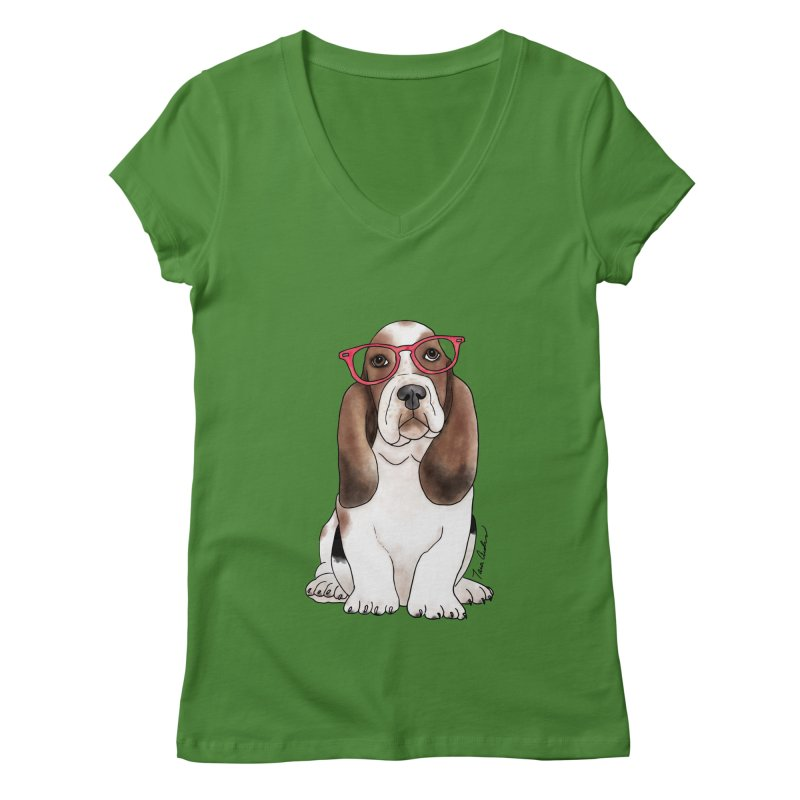 Bashful Basset Hound Women's V-Neck by Tara Joy Andrews
