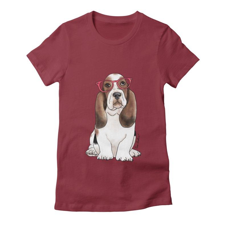 Bashful Basset Hound Women's Fitted T-Shirt by Tara Joy Andrews