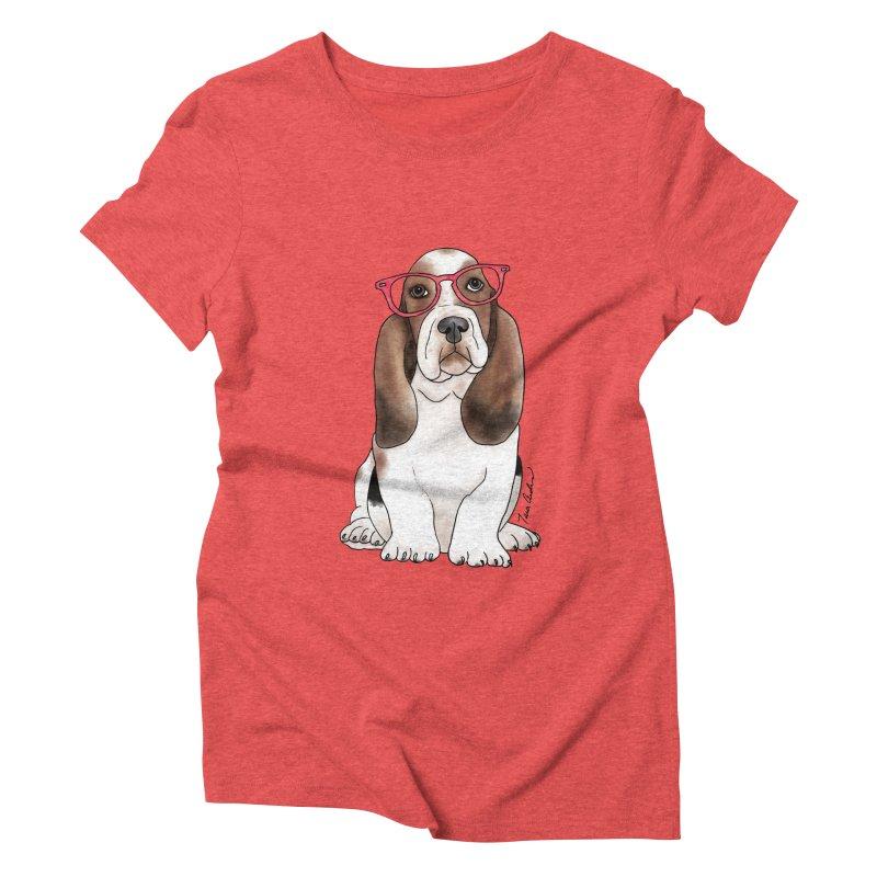 Bashful Basset Hound Women's Triblend T-Shirt by Tara Joy Andrews
