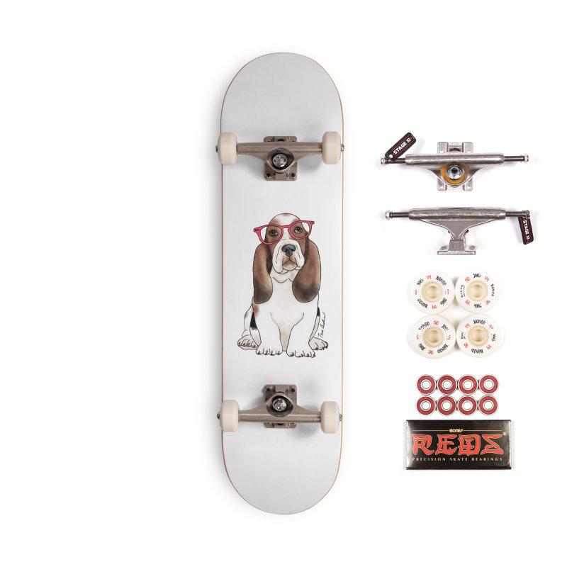 Bashful Basset Hound Accessories Complete - Pro Skateboard by Tara Joy Andrews