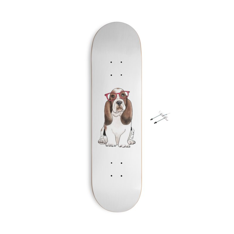 Bashful Basset Hound Accessories With Hanging Hardware Skateboard by Tara Joy Andrews