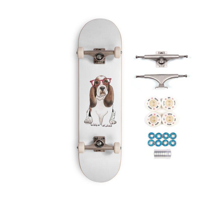 Bashful Basset Hound Accessories Complete - Premium Skateboard by Tara Joy Andrews
