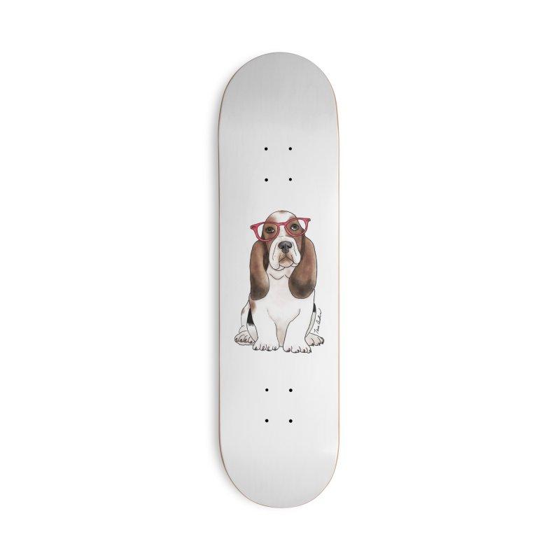 Bashful Basset Hound Accessories Deck Only Skateboard by Tara Joy Andrews