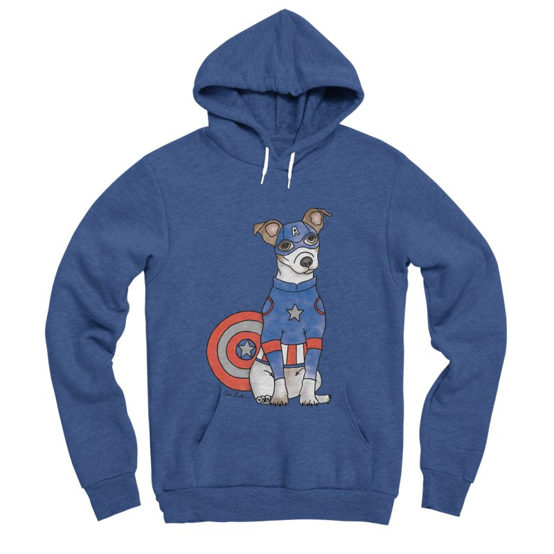 Captain America Pooch Men's Sponge Fleece Pullover Hoody by Tara Joy Andrews