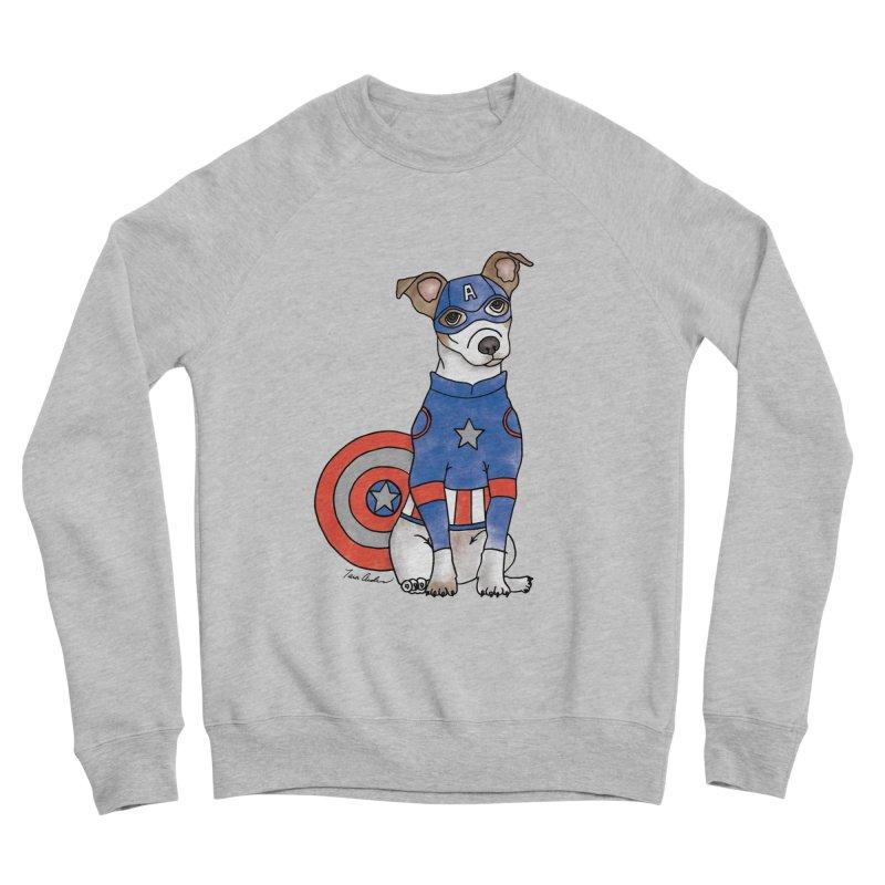 Captain America Pooch Women's Sponge Fleece Sweatshirt by Tara Joy Andrews