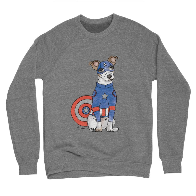Captain America Pooch Men's Sponge Fleece Sweatshirt by Tara Joy Andrews
