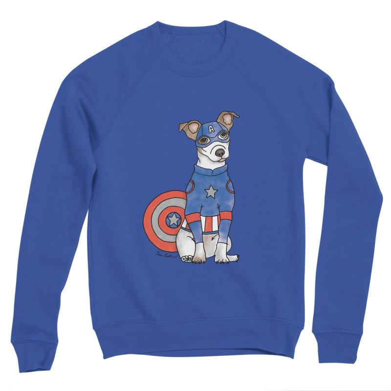 Captain America Pooch Men's Sponge Fleece Sweatshirt by Tara Joy Andrews