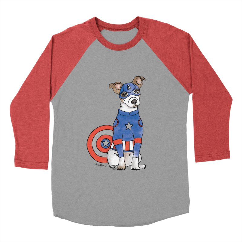 Captain America Pooch in Men's Baseball Triblend Longsleeve T-Shirt Chili Red Sleeves by Tara Joy Andrews