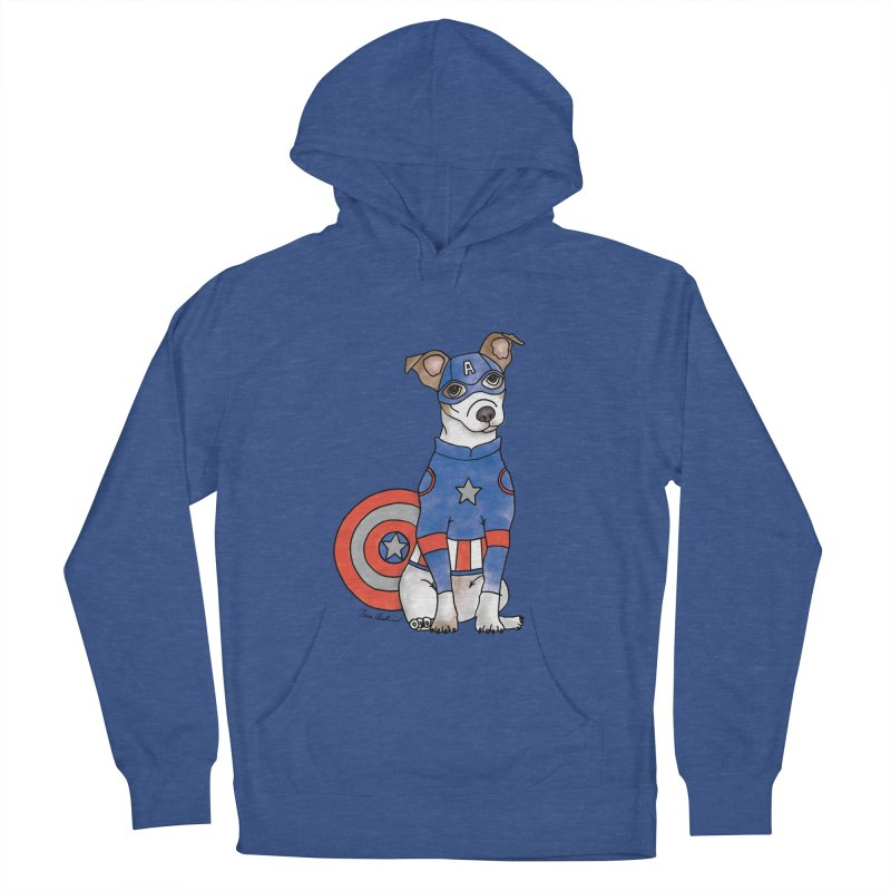 Captain America Pooch Men's French Terry Pullover Hoody by Tara Joy Andrews